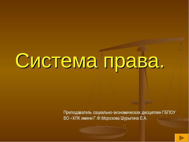 Система права. Преподаватель социально-экономических дисциплин ГБПОУ ВО «ХЛК...