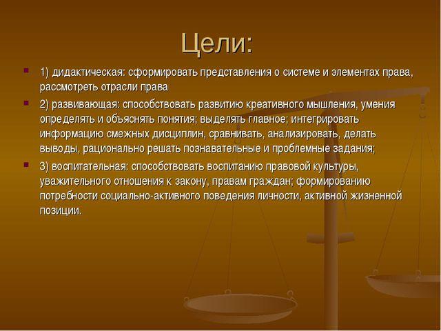 Цели: 1) дидактическая: сформировать представления о системе и элементах прав...