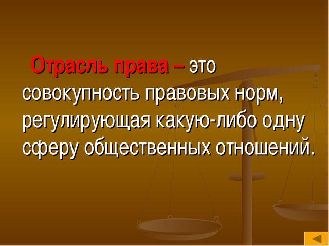 Отрасль права – это совокупность правовых норм, регулирующая какую-либо одну...