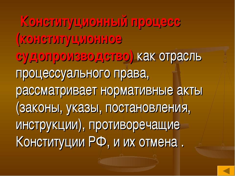 Конституционный процесс (конституционное судопроизводство) как отрасль проце...