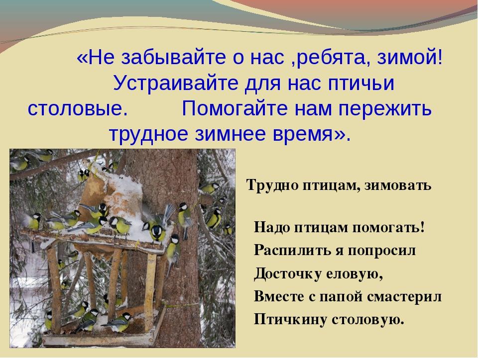 «Не забывайте о нас ,ребята, зимой! Устраивайте для нас птичьи столовые. Пом...