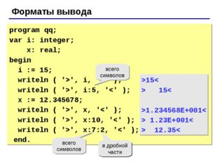 Форматы вывода program qq; var i: integer; x: real; begin i := 15; writeln (