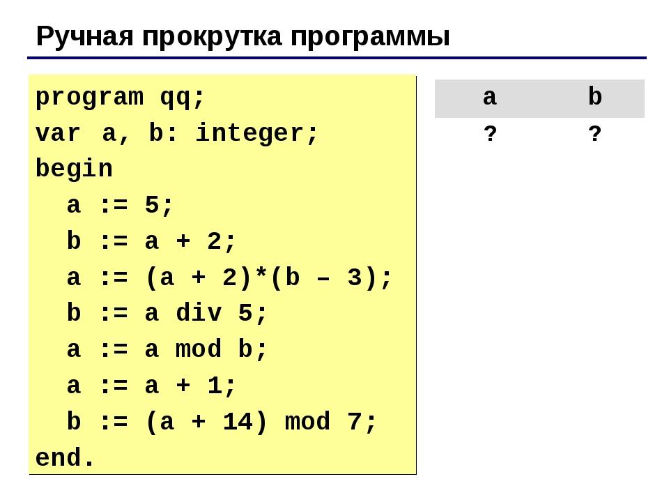 Ручная прокрутка программы program qq; var a, b: integer; begin a := 5; b :=...