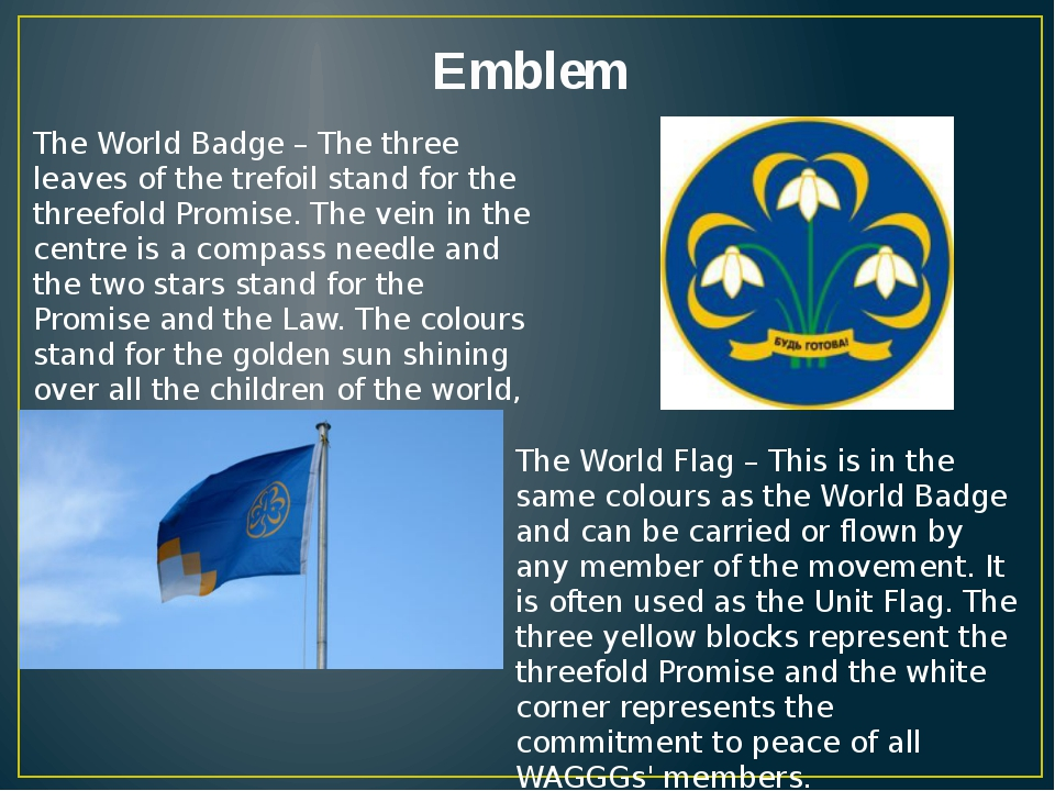 Emblem The World Badge – The three leaves of the trefoil stand for the threef...