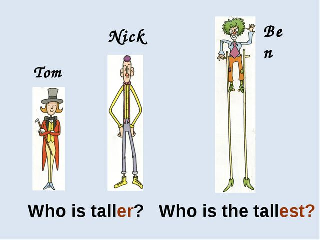 Who is taller? Who is the tallest? Tom Nick Ben