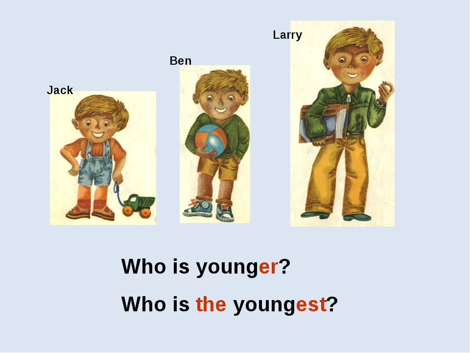 Jack Larry Ben Who is younger? Who is the youngest?