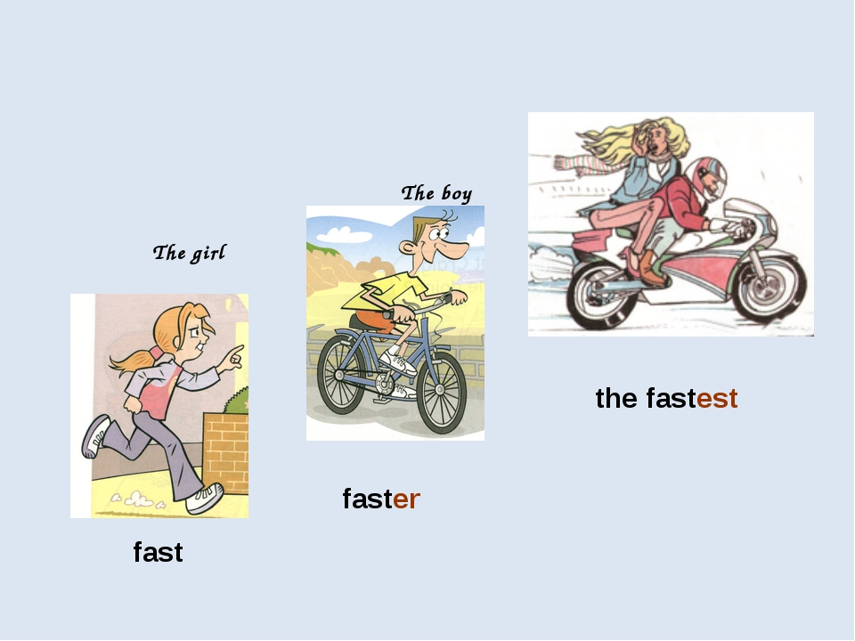 fast faster the fastest The girl The boy