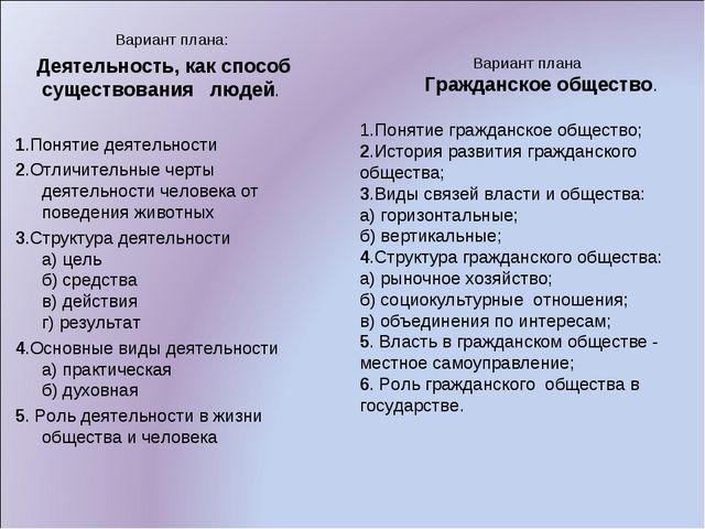 Вариант плана Гражданское общество. 1.Понятие гражданское общество; 2.Истори...