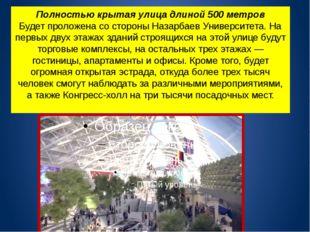 Полностью крытая улица длиной 500 метров Будет проложена со стороны Назарбаев