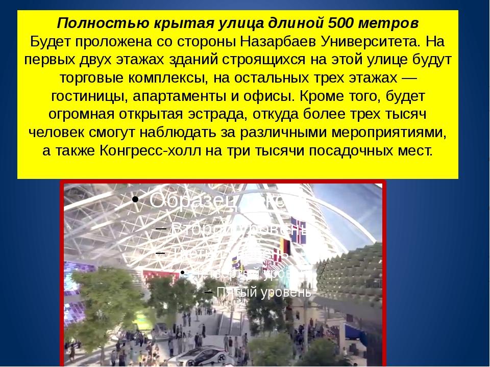 Полностью крытая улица длиной 500 метров Будет проложена со стороны Назарбаев...