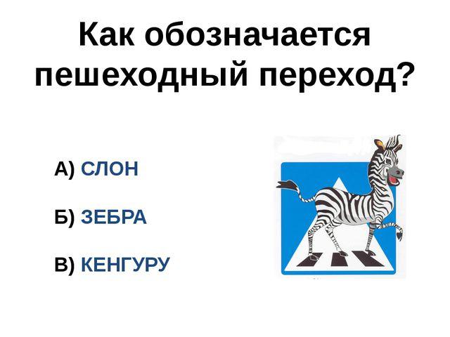 Как обозначается пешеходный переход? А) СЛОН Б) ЗЕБРА В) КЕНГУРУ