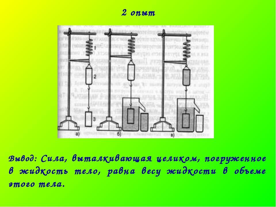 2 опыт Вывод: Сила, выталкивающая целиком, погруженное в жидкость тело, равна...