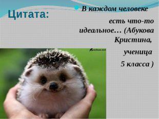 Цитата: В каждом человеке есть что-то идеальное… (Абукова Кристина, ученица 5