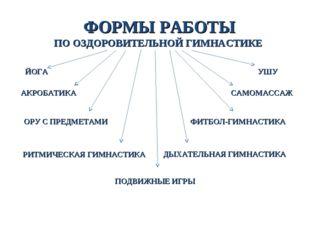 ФОРМЫ РАБОТЫ ПО ОЗДОРОВИТЕЛЬНОЙ ГИМНАСТИКЕ РИТМИЧЕСКАЯ ГИМНАСТИКА ОРУ С ПРЕДМ