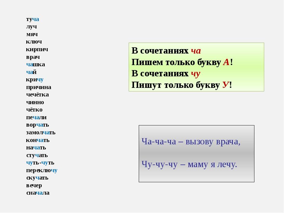 В сочетаниях ча Пишем только букву А! В сочетаниях чу Пишут только букву У! т...