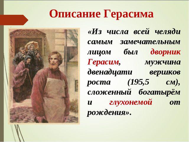 Описание Герасима «Из числа всей челяди самым замечательным лицом был дворни...