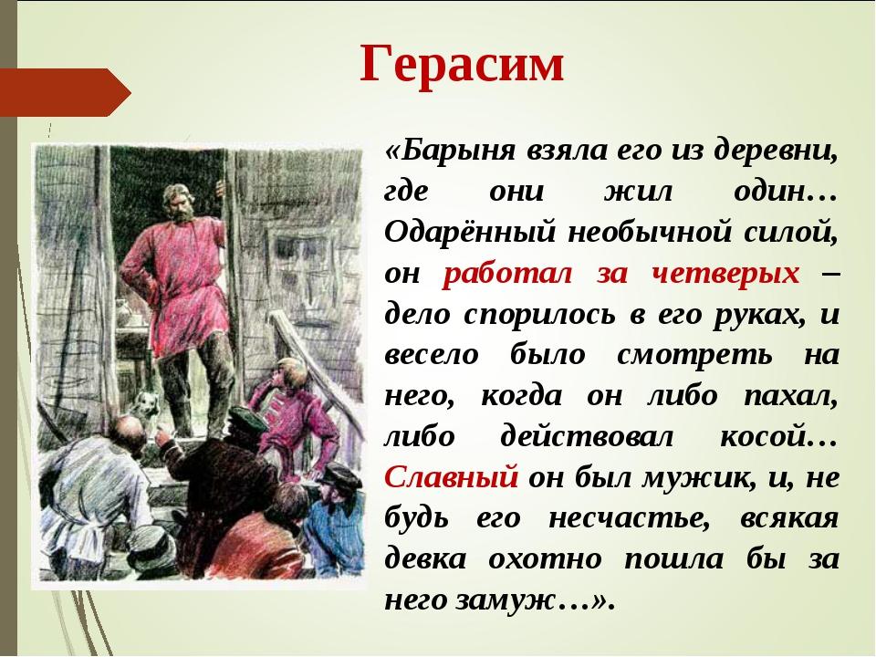 Герасим «Барыня взяла его из деревни, где они жил один… Одарённый необычной...