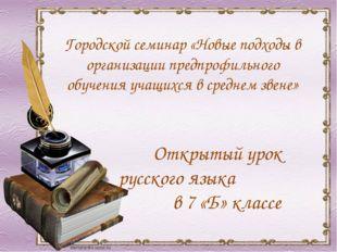 Открытый урок русского языка в 7 «Б» классе Городской семинар «Новые подходы