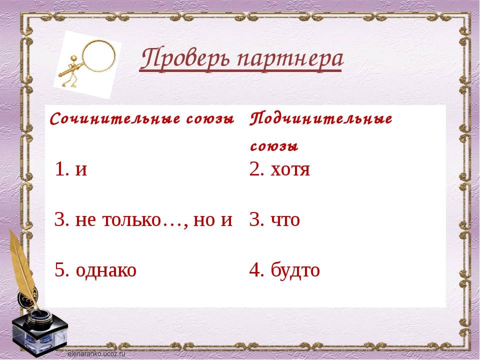 Проверь партнера Сочинительные союзы Подчинительные союзы 1. и 2. хотя 3. не...
