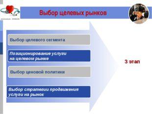 Выбор целевых рынков Выбор целевого сегмента Выбор ценовой политики Выбор ст