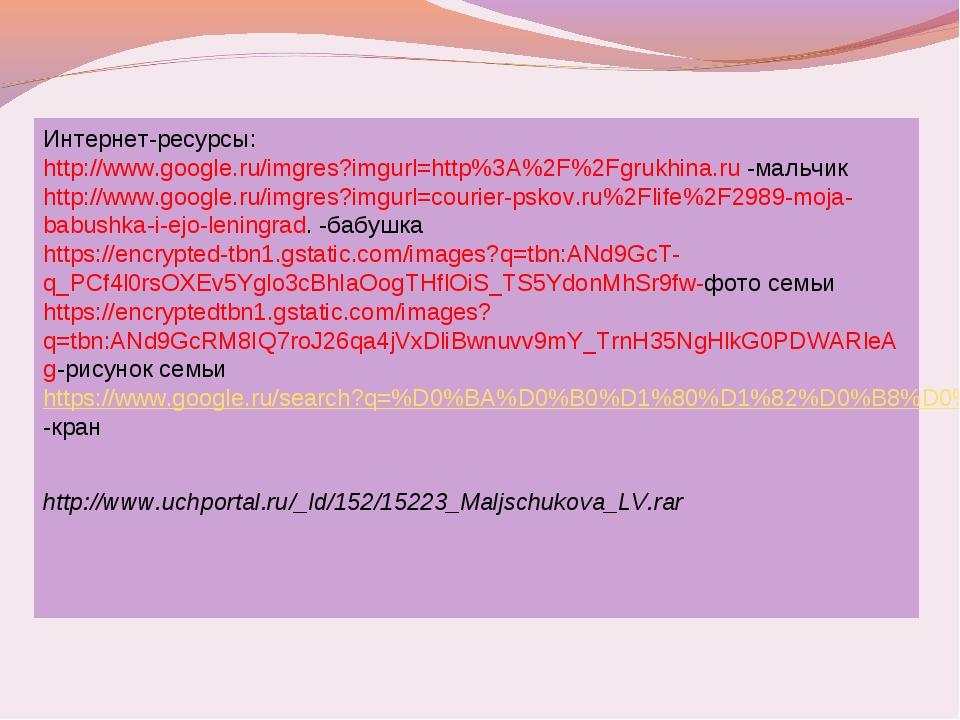 Интернет-ресурсы: http://www.google.ru/imgres?imgurl=http%3A%2F%2Fgrukhina.ru...