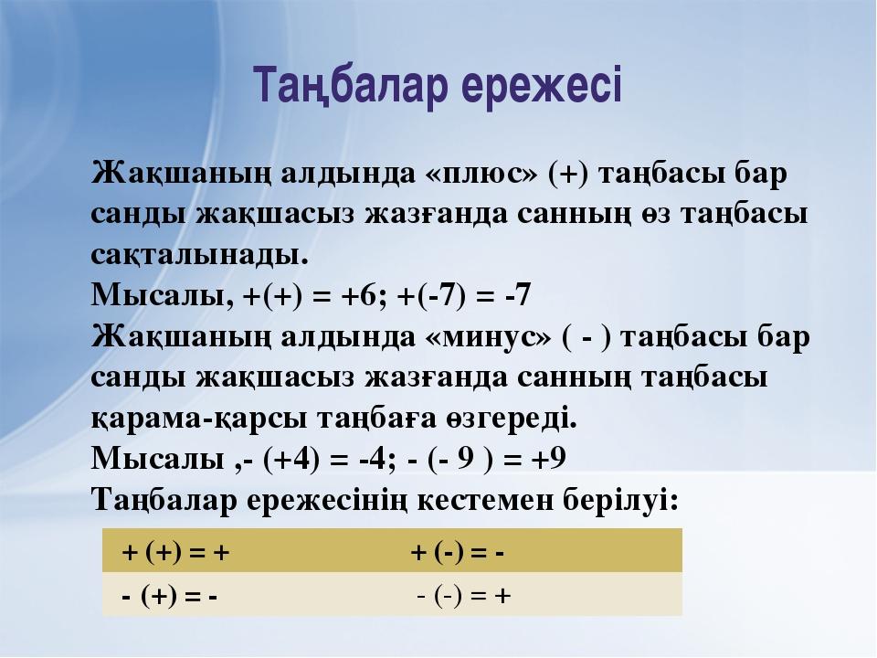Таңбалар ережесі Жақшаның алдында «плюс» (+) таңбасы бар санды жақшасыз жазға...