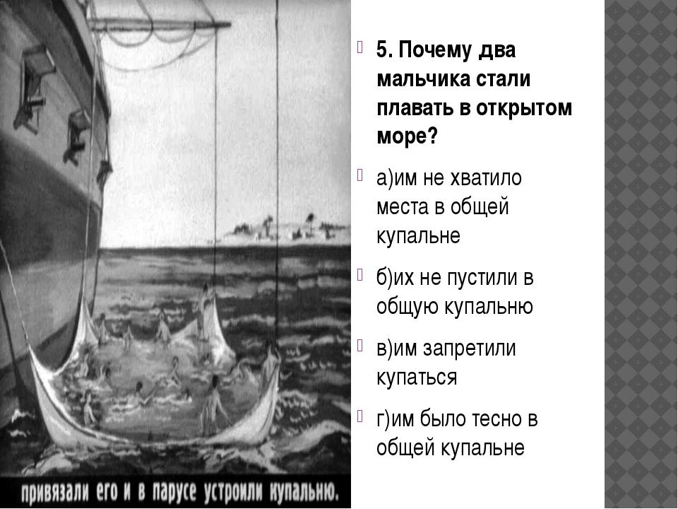 5. Почему два мальчика стали плавать в открытом море? а)им не хватило места...