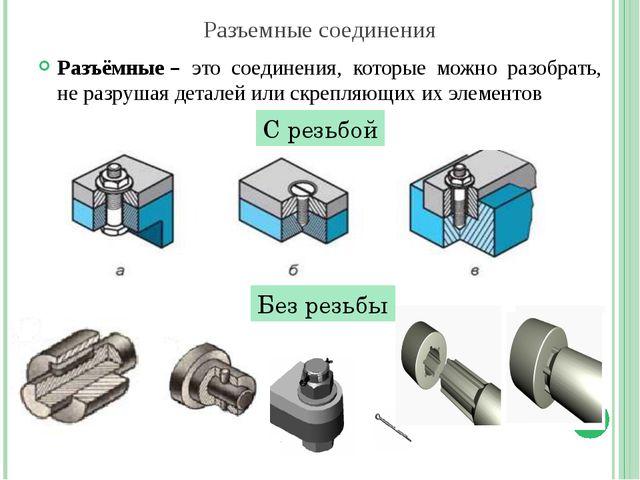 Разъемные соединения Разъёмные– это соединения, которые можно разобрать, не...