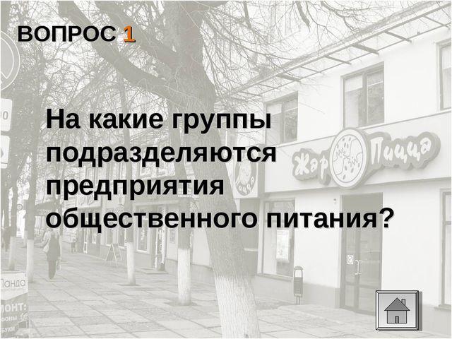 ВОПРОС 1 На какие группы подразделяются предприятия общественного питания?