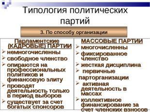 Типология политических партий 3. По способу организации Парламентские (КАДРОВ