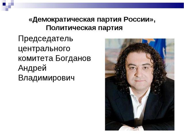 «Демократическая партия России», Политическая партия  Председатель централь...
