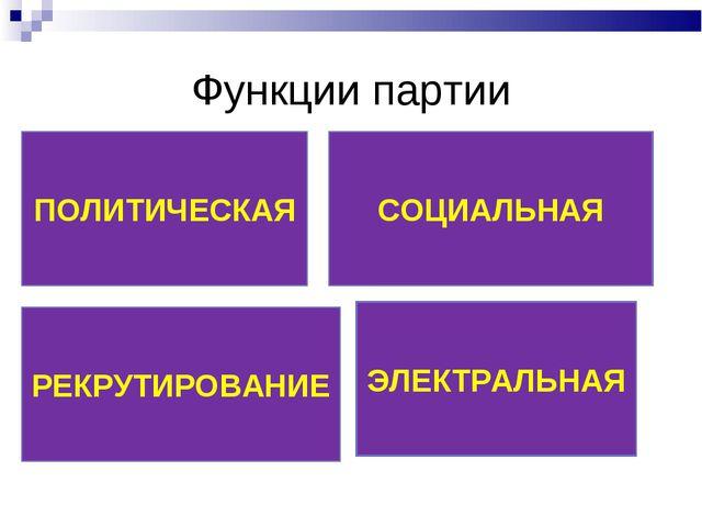 Функции партии ПОЛИТИЧЕСКАЯ СОЦИАЛЬНАЯ РЕКРУТИРОВАНИЕ ЭЛЕКТРАЛЬНАЯ