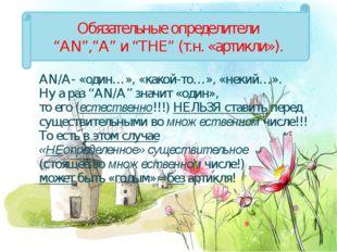 """AN/A- «один…», «какой-то…», «некий…». Ну а раз """"AN/A"""" значит «один», то его"""