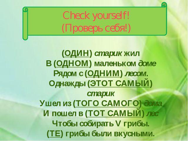 Check yourself! (Проверь себя!) (ОДИН) старик жил В (ОДНОМ) маленьком доме Ря...
