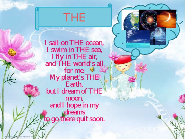 THE I sail on THE ocean, I swim in THE sea, I fly in THE air, and THE world's...