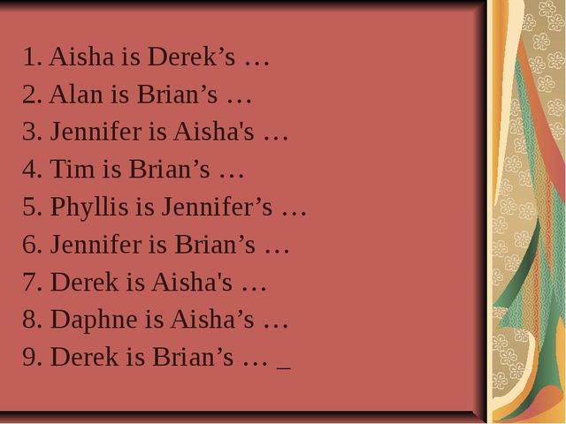 1. Aisha is Derek's … 2. Alan is Brian's … 3. Jennifer is Aisha's … 4. Tim i...