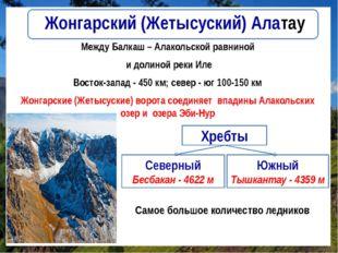 Жонгарский (Жетысуский) Алатау Между Балкаш – Алакольской равниной и долиной