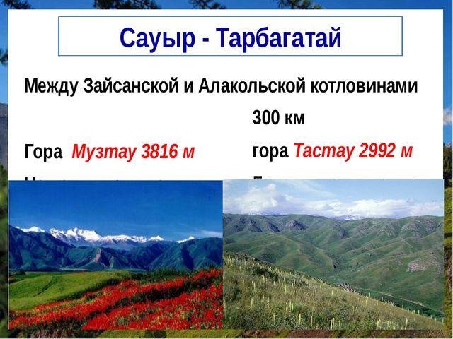 Сауыр - Тарбагатай Между Зайсанской и Алакольской котловинами Гора Музтау 381...