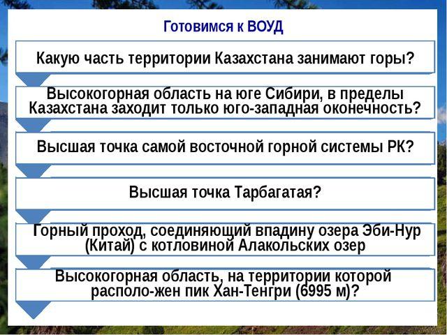 Готовимся к ВОУД Какую часть территории Казахстана занимают горы? Высокогорна...