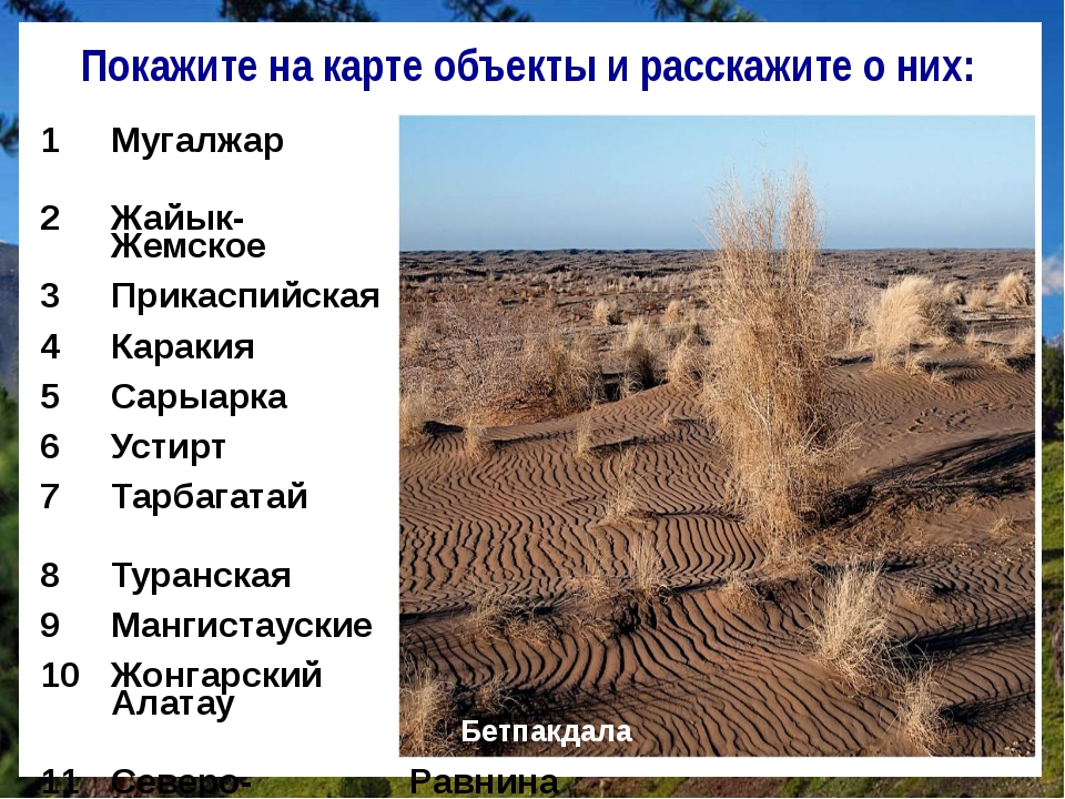 Покажите на карте объекты и расскажите о них: Бетпакдала 1 Мугалжар Низкогорн...
