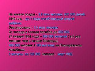 На начало осады ~ 2,8 млн человек, 400000 детей. 1942 год – до 1 года погиб