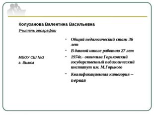 Колузанова Валентина Васильевна Учитель географии МБОУ СШ №3 г. Выкса Общий п