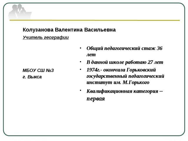 Колузанова Валентина Васильевна Учитель географии МБОУ СШ №3 г. Выкса Общий п...