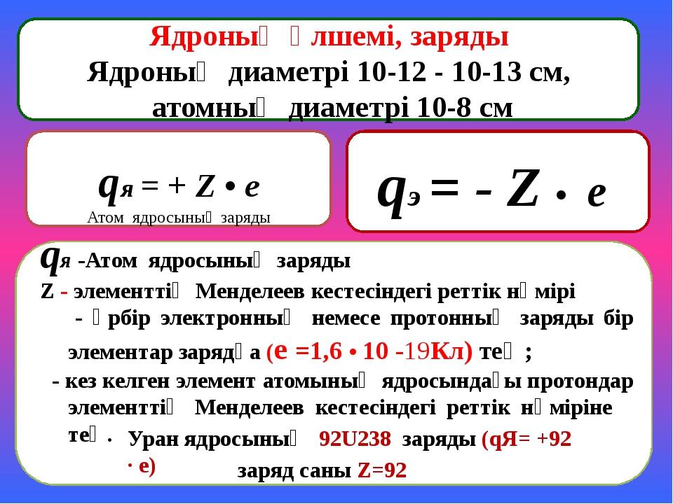 qя = + Z • e Атом ядросының заряды Ядроның өлшемі, заряды Ядроның диаметрі 1...