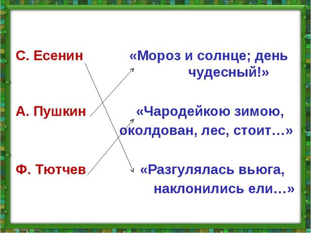 С. Есенин «Мороз и солнце; день чудесный!» А. Пушкин «Чародейкою зимою, околд...