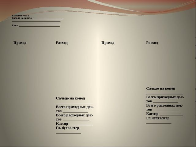 Кассовая книга Сальдо на начало_________________________ ___________________...