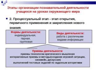 Этапы организации познавательной деятельности учащихся на уроках окружающего