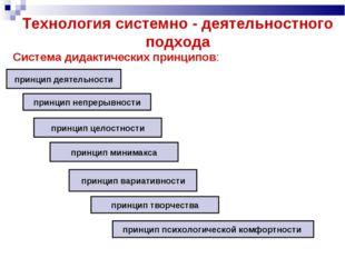Технология системно - деятельностного подхода Система дидактических принципов