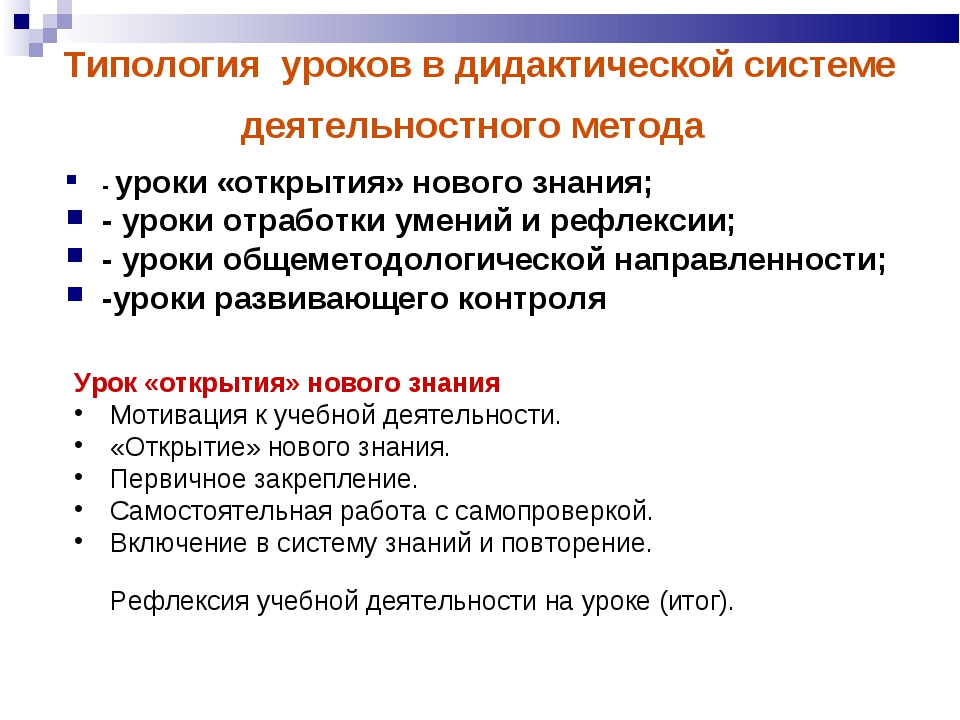 Типология уроков в дидактической системе деятельностного метода - уроки «откр...