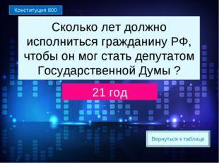 Вернуться к таблице Сколько лет должно исполниться гражданину РФ, чтобы он мо